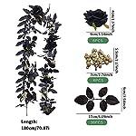 gezichta artificial black rose vine, hanging black silk flower garland black silk flower garland hanging black rose for halloween decor(size:70.87inch)