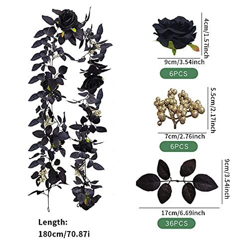 GEZICHTA Artificial Black Rose Vine, Hanging Black Silk Flower Garland Black Silk Flower Garland Hanging Black Rose for Halloween Decor(Size:70.87inch) Silk Flower Arrangements