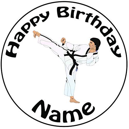 Personalisierter Karate Kick Zuckerguss Kuchen Topper / Kuchendekoration - 20 cm Großer Kreis - Jeder Name Und Jedes Alter
