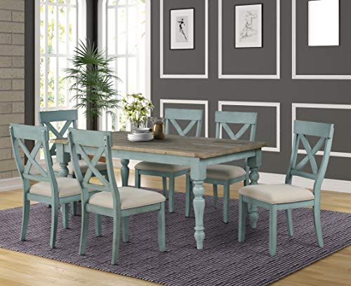 Roundhill Furniture Prato 7-Piece Dining Table Set with Cross Back Chairs, Blue