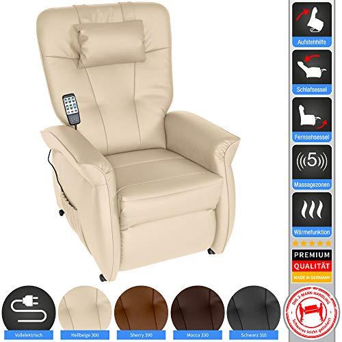 THRONER EXKLUSIV Massagesessel mit elektr. Aufstehhilfe 5-Zonen-Massage in Hellbeige. TV-Sessel mit Liegefunktion Wellness-Massagen Wärmetherapie und Fernbedienung. Qualität aus Deutschland