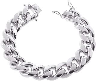 Mens Sterling Silver Solid Miami Cuban Link Chain Bracelet 6.5MM -14.5MM- 925 Sterling Silver Curb Cuban Bracelet for Men, Silver Cuban Link Chain, Mens Heavy Silver Bracelet