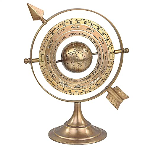 THE RUSTY RETRO Antique Brass Armillary Sphere with Sundial Arrow | Nautical Maritime Astrolabe Engraved Astrological Star Signs Globe | Home Decor Center Piece Ideas | Vintage Collectible Gifts