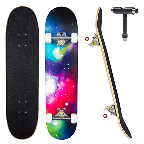 JECOLOS Pro Skateboard Complete 7 Layers Deck 31'x8' Skate Board Maple Wood...
