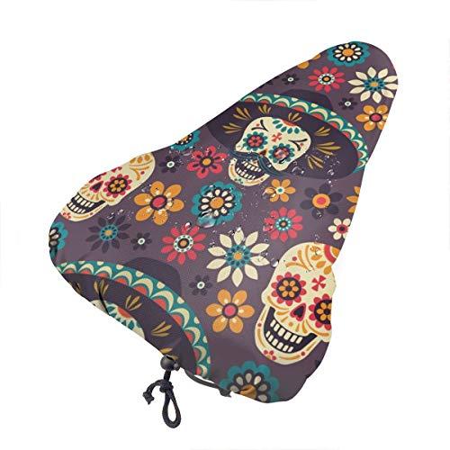 No aplicable señuelos de pesca, asiento de bicicleta extra suave, cojín para sillín de bicicleta con cubierta resistente al agua y al polvo, Calavera de azúcar colorida con diamante de flor, talla única