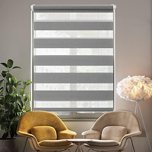 i@HOME Doppelrollo ohne Bohren (60 x 150 cm), Rollos für Fenster & Türen ohne Bohren Thermorollo Fensterrollo Seitenzugrollo für Sichtschutz & Sonnenschutz (Grau, 60 x 150 cm)