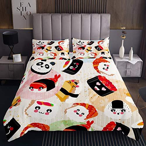 Homewish Sushi Gesteppte Bettdecke, Kinder Mädchen Kawaii Sushi Lächelnd Decke 220x240, japanische Tagesdecke, Panda Mädchenhaft Karikatur Stil Bettdecke Set für Jungen Teenager Kinderschlafsaal