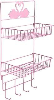 収納ボックス シンプルアートパーソナリティラックバスルーム収納ボックス壁掛けラック鉄製マルチハンギングバスケットキッチンラック収納ラック学生寮無料パンチ棚収納ラック (Color : ピンク)