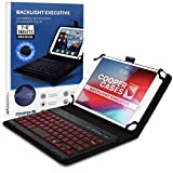 Cooper Backlight Executive Keyboard Case for 7-8 Inch Tablets | Universal Fit | 2-in-1 Bluetooth Keyboard & Leather Folio, 7 Color Backlit (Blue)