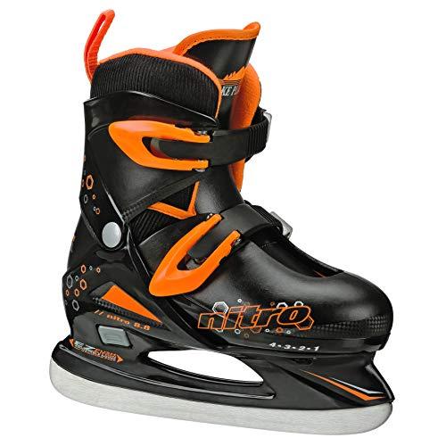 Lake Placid Boys Nitro 8.8 Adjustable Figure Ice Skate, Black/Orange, Medium (1-4)