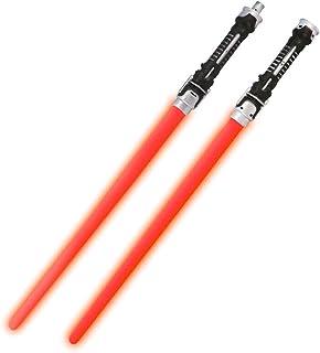 2Pcs Lightsaber Cosplay Children Flashing Toys Boy Girl Gift Luminescent Music Telescopic Sword, 132Cm,Red