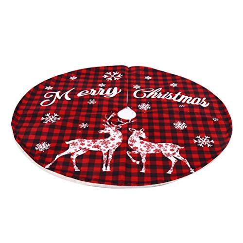 Babitotto 119 cm Weihnachtsbaum-Rock Weihnachtsbaum-Boden-Dekoration Schwarz Rot Gitter Weihnachtsbaum-Rock Bodenmatte Abdeckung Ornament Dekor Plüsch Baum-Rock für Weihnachten Mottoparty
