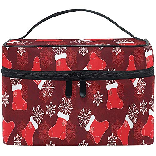 Bas de Noël Maquillage Sac De Noël Flocons De Neige Sac Cosmétique Portable Zip Brosse Sac Organisateur De Stockage