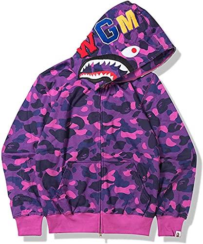 Shark Ape Bape Hoodie Hip Hop Zipper Camouflage Camo Jacket Casual Fashion Hoodies for Men Women Boys and Girls Purple Medium