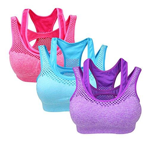 Yolev Damen Sport BHs ohne Bügel Doppellagiger Fitness Sport Bra ein Pack von 3, mehre Farbe (m, lila/blau/rosa)