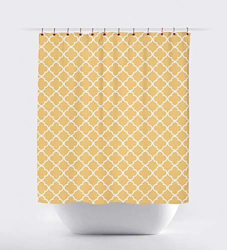 None Brand Senf Viertel-Duschvorhang Modern Gelb Duschvorhang Stoff Duschvorhang Vierpass Gelb Weiß