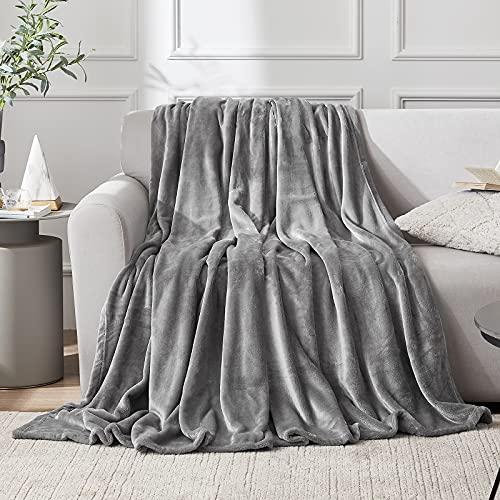 EHEYCIGA Manta Sofa Mantas Para Sofa Gris 130x165 cm Microfibra Suave Acogedora Manta de Lujo Para La Cama