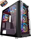 MUSETEX Phantom Black ATX Mid Tower Desktop Computer Gaming Case USB 3.0 Ports Tempered Glass Windows with 120mm LED RGB Fans Pre-Installed (BX6-MS6)