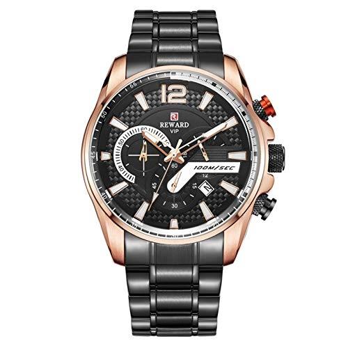 CHICAI Reloj deportivo de lujo con cronógrafo y correa de acero inoxidable (color negro y dorado)