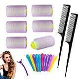 Gxhong Rulo de Pelo, Hair Curlers, rodillos para el cabello con agarre automático, 18Pcs Rizador Sin Calor para Cabello(35mm, 25mm, 15mm) con 12Pcs Duck Clips 2Pcs Peine de pelo