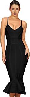 Maketina Women's Mermaid Spaghetti Strap V Neck Bodycon Midi Cocktail Bandage Dress