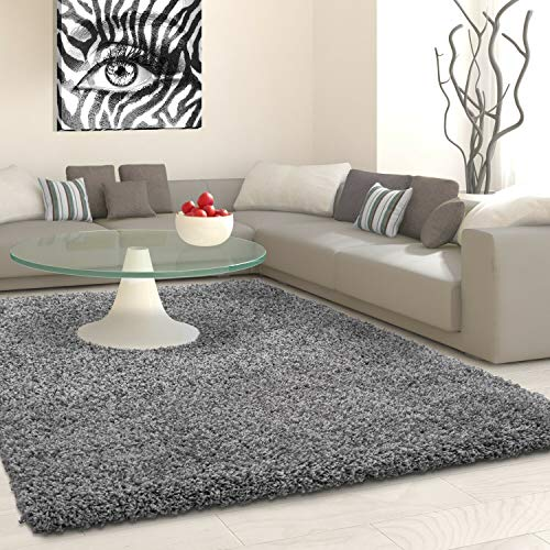 SHAGGY Rug Rugs Living Room Large Soft Touch 5cm Thick Pile Modern Bedroom Living Room Area Rugs Non Shed (Grey, 80cm x 150cm (3ft x 5ft))