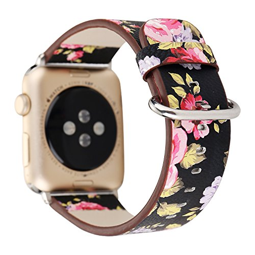 YOSWAN Flower Design Strap for iWatch,38mm 42mm Floral Pattern Printed Leather Wrist Band Apple Watch Link Bracelet for Apple Watch Smartwatch Fitness Tracker Series 3 2 1 Version (Black+ Pink, 38mm)