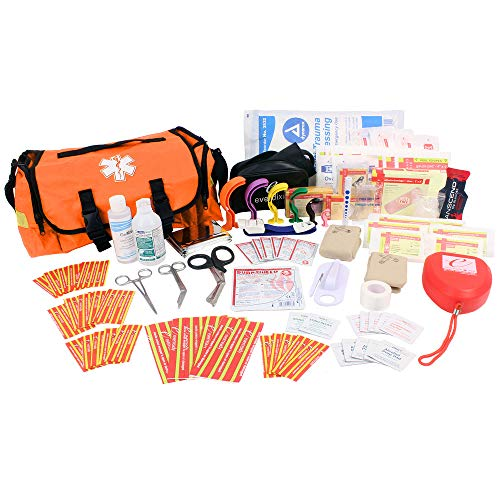 EverOne Emergency Response Trauma First Responder Kit Fully Stocked, Orange