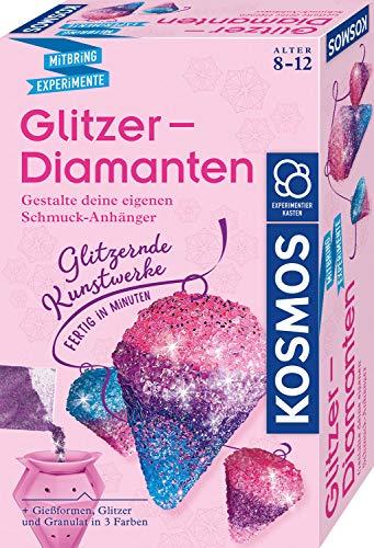 Kosmos 657758 Glitzer-Diamanten, funkelnde Schmuck-Anhänger erstellen und gestalten, mit Gießformen, Schmuckbändern, Glitzer, Granulat in 3 Farben, Experimentierset für Kinder von 8 - 12 Jahre