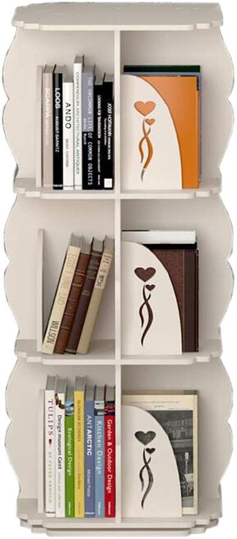 JCAFA Shelves Bookshelf 360 Degree redating Bookshelf Square Bookshelf Floor Stand Small Footprint, Suitable for Home Office (color   White, Size   15.74  15.74  38.97in)
