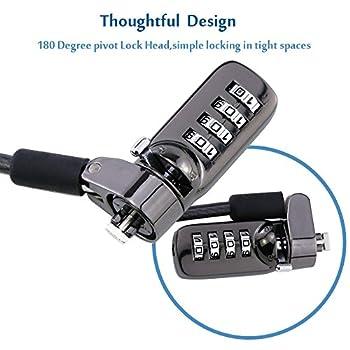 Ordinateur portable verrous de sécurité, W-unique Portable câble antivol à combinaison 4chiffres Mot de passe Protections et robuste épais câble de sécurité pour PC/ordinateur portable et projecteurs