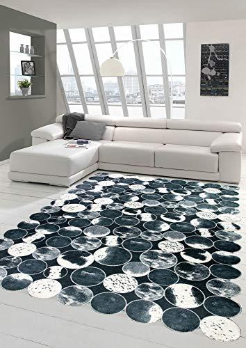 Merinos Kuhfell Teppich Patchwork in Schwarz Grau Weiß Größe 80x150 cm