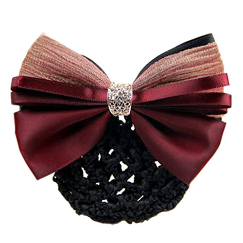 2 pcs dames bowtie maille élastique coiffe coiffure Hairnets Barrette cheveux, Vin rouge