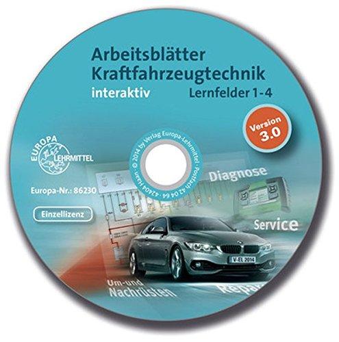 Arbeitsblätter Kraftfahrzeugtechnik Lernfelder 1-4 interaktiv: Einzellizenz