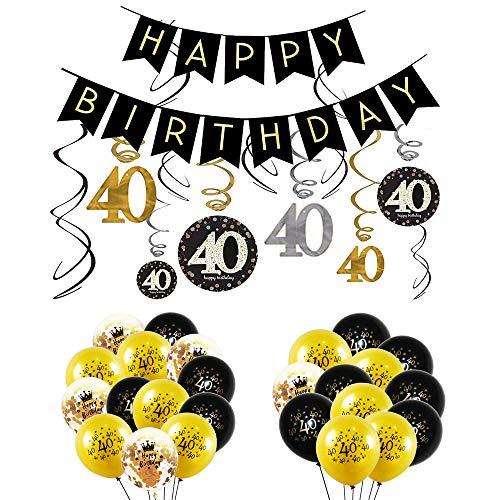 INTVN 40 ° Kit Decorazioni per la Festa di Compleanno, Striscione Happy Birthday, Decorazioni Pendenti di Compleanno 40 Anni Palloncini in Lattice Palloncini coriandoli Oro Nero