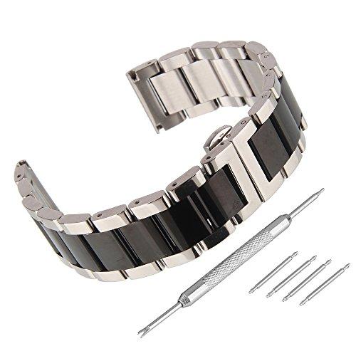 Beauty7 24mm Glänzend Schwarz/Silber Edelstahl Uhrenarmband Uhrband mit Faltschließ Schnalle mit Zubehör 4 STK Federstege und Federstift