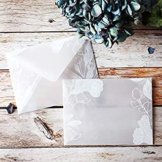 XMSM 20pcs/lot Beautiful Translucent Sulfuric Acid Paper Envelope Sets Creative Designs Dreamlike Lace Wedding Invitation ...