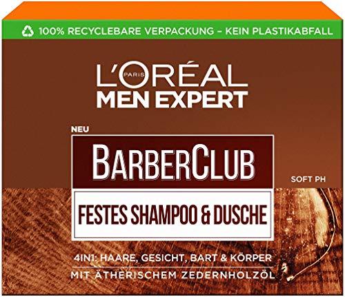 L'Oréal Men Expert Barber Club Festes Shampoo, ein Stück Shampoo für Männer im Seifenformat mit Zedernholzöl, XL-Größe, 100 g
