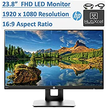 Newest HP 23.8  Full HD  1920x1080  IPS LED PC Computer Monitor for Business Student Build in Speaker VESA Mounting Tilt HDMI VGA 5ms 16 9 Aspect Ratio 178° w/HubXcel HDMI Cable Accessories