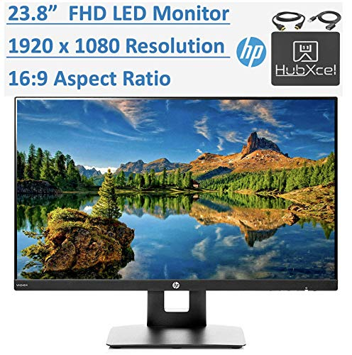 Newest HP 23.8' Full HD (1920x1080) IPS LED PC Computer Monitor for Business Student, Build in Speaker, VESA Mounting, Tilt, HDMI, VGA, 5ms, 16:9 Aspect Ratio, 178°, w/HubXcel HDMI Cable Accessories