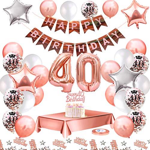MMTX Ballon Anniversaire 40 ans decoration anniversaire kit rose gold Deco Anniversaire Guirlande Happy Birthday, Nappe Rose Or, Ballon Confetti Imprimé, Ballons étoile, Confettis Happy Birthday