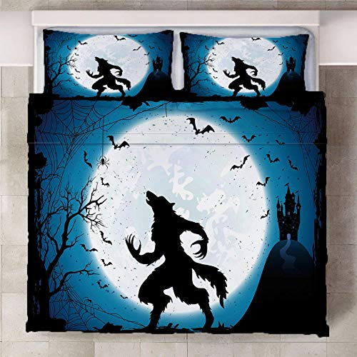 LOVEKKK Duvet Cover with 2 Pillowcases Werewolf 86.5x94.5 inches Bedding Sets Super Soft Warm and Cosy Duvet Cover with with Zipper Closure - Non-Iron Easy Care Soft Microfibre