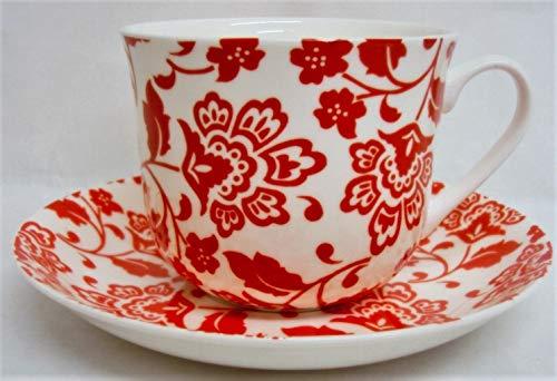Florence Tasse et soucoupe pour petit déjeuner en porcelaine fine Florence Rouge Grande tasse et soucoupe décorée à la main au Royaume-Uni Livraison gratuite au Royaume-Uni
