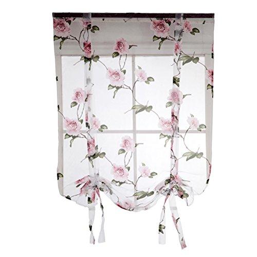 VOSAREA Cortina Romana de Flores con Lazo Semi Transparente de Poliéster para Sala Balcón Dormitorio Cocina 1.2 x 1.6m (Rosa)