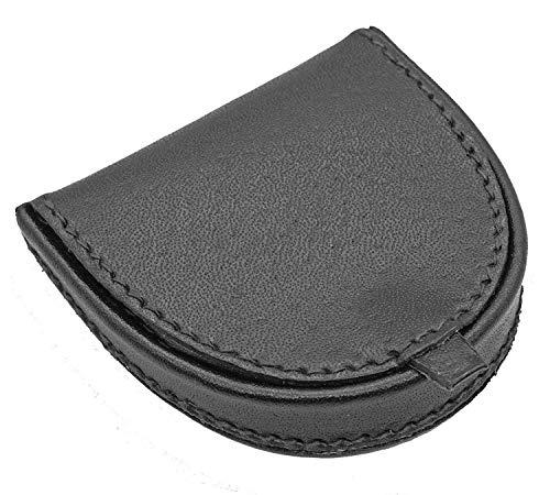 LIVAN - L089 - Porte-Monnaie Homme - Cuvette Demi Lune - Cuir véritable - Compact et Pratique - pour Poches Pantalon ou Veste (Noir)