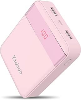 Yoobao Portable Charger 10000mAh Power Bank Compact External Battery Pack 2 Input & 2 Output LED Display Powerbank Compatible with iPhone Xs/Xr/X/8, iPad, Samsung, Google, Oneplus and More - Pink