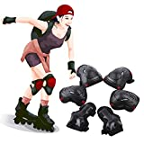 SLFC Adult/Kids/Youth Knee Pads Elbow Pads Wrist Guards with Adjustable Strap for Skateboarding Cycling Bike BMX Rollerblading Scooter - 6 In 1 Protective Gear Set (red, L)