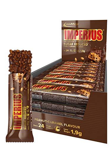 IronMaxx Imperius Sugar Reduced Protein Riegel – 36% Eiweiß, nur 1,5g Zucker pro Riegel und wenig Kohlenhydrate – Schokoriegel mit 100% Geschmack – Erdnuss-Karamell – 1er Pack (1x1,08kg) – 24x45g