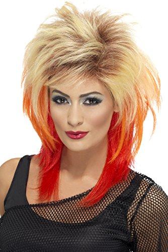 Smiffys, Damen 80er Jahre Vokuhila Perücke, One Size, Blond und Rot, 43245