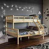 Vida Designs Milan Triple Bunk Bed, Three Sleeper, Solid Pine Wood Frame, Kids Children, Double 4 Foot 6, Single 3 Foot, Natural Pine
